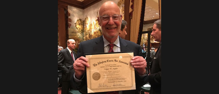 Attorney Edgar Snyder was honored recently for 50 years in the legal field.