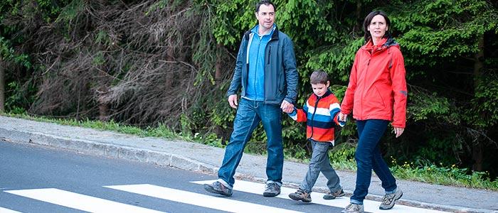 Family at Crosswalk