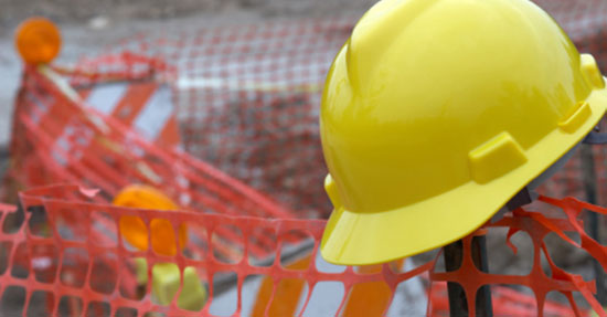 hard hard hat in construction zone