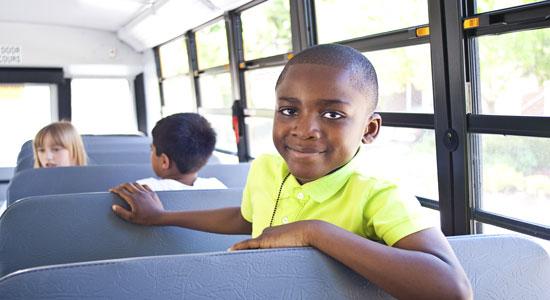 boy on school bus