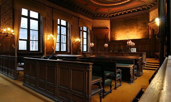 court room for a product injury case