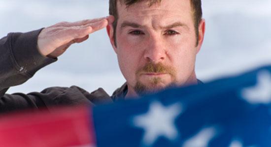 saluting flag in honor of Flight 93 heroes
