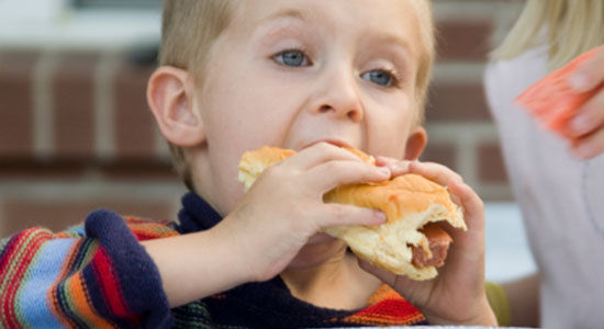 toddler eating safe school lunch