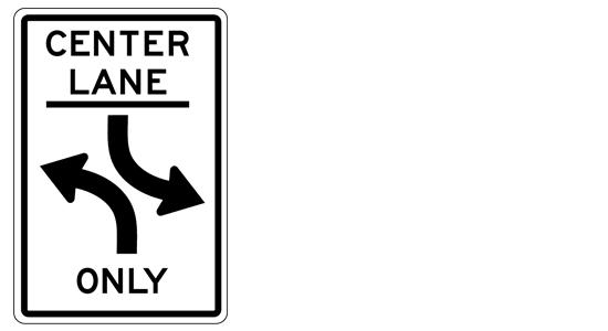 center left turn only
