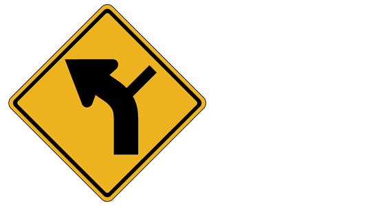 road entering curve